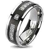 Spikes Solid Titanium Black IP Center Multi Cubic Zirconia Band Ring