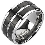 Spikes Mens Solid Titanium 10mm  Double Grooved Black IP Cubic Zirconia Ring
