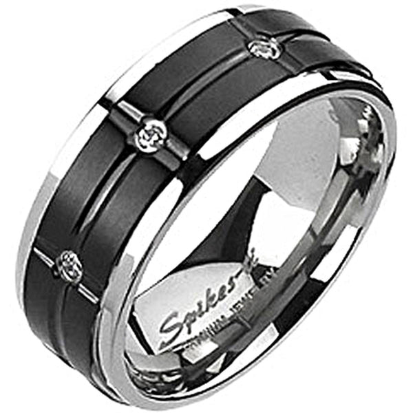 Spikes Mens Solid Titanium 8mm Black IP Grooved Center Cubic Zirconia Ring