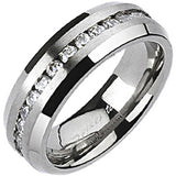 Spikes Womens Solid Titanium 6mm Brushed Center Cubic Zirconia Band Ring