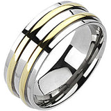 Spikes Mens Solid Titanium 8mm Double Gold IP Band Ring