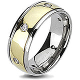 Spikes Solid Titanium Gold IP Center Cubic Zirconia Dome Band Ring