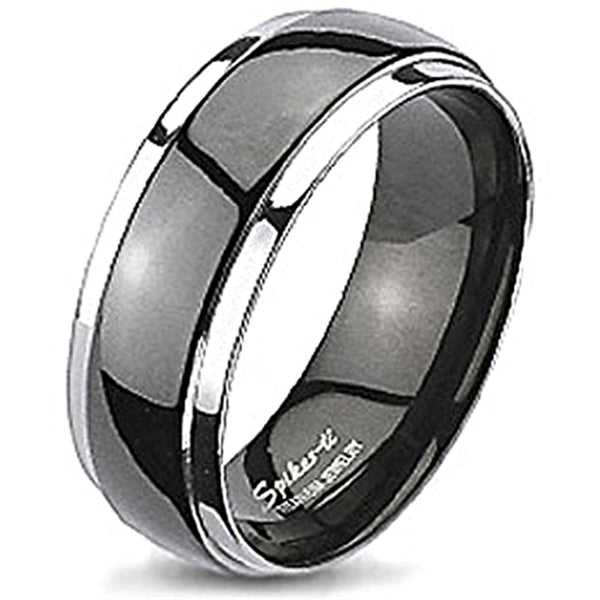 Spikes Solid Titanium Two-Tone Black IP Dome Band Ring