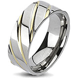 Spikes Solid Titanium Diagonal Grooved Gold IP Band Ring