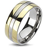 Spikes Solid Titanium Two-Tone Gold IP Edged Band Ring