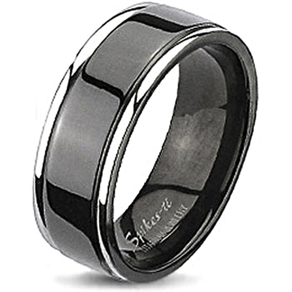 Spikes Solid Titanium Two-Tone Black IP Center Grooved Band Ring