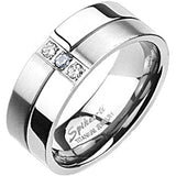 Spikes Mens Solid Titanium 8mm Two-Tone Cubic Zirconia Band Ring
