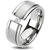 Spikes Solid Titanium Brushed Center Cubic Zirconia Band Ring