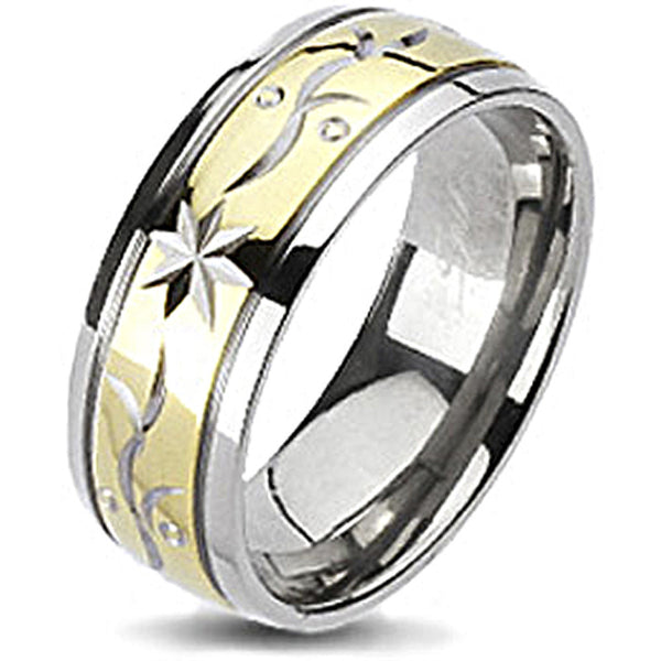 Spikes Solid Titanium Two-Tone Gold IP Laser Engraved Star Flora Band Ring