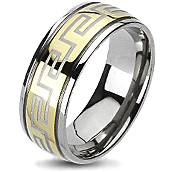 Spikes Solid Titanium Gold IP Maze Design Band Ring