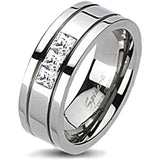 Spikes Solid Titanium Cubic Zirconia Grooved Band Ring