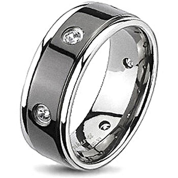 Spikes Solid Titanium Black IP Cubic Zirconia Grooved Band Ring