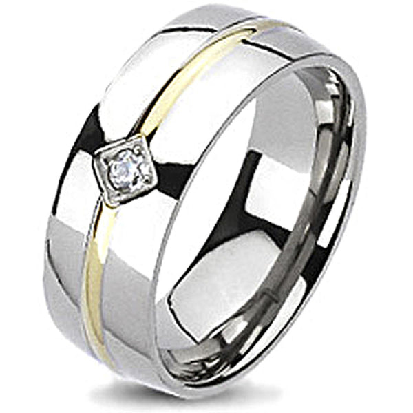 Spikes Solid Titanium Gold IP Stripe Cubic Zirconia Band Ring