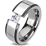 Spikes Solid Titanium Two-Tone Band Ring with Princess Cut Cubic Zirconia