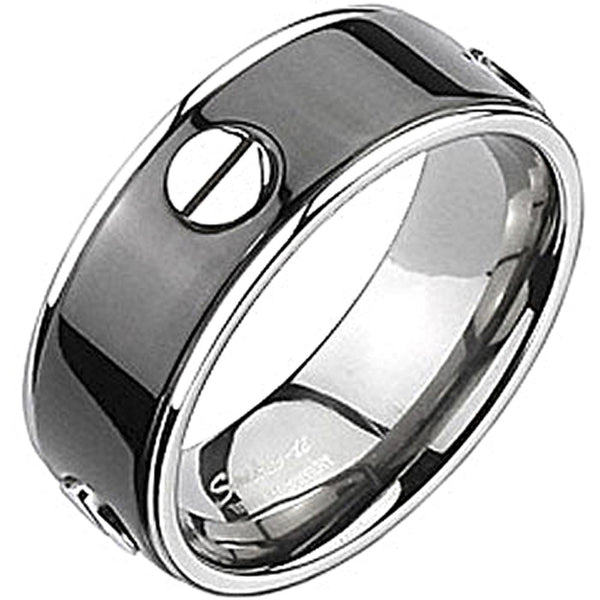 Spikes Mens Solid Titanium Black IP Bolted Band Ring