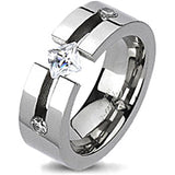 Spikes Solid Titanium Triple Cubic Zirconia Band Ring