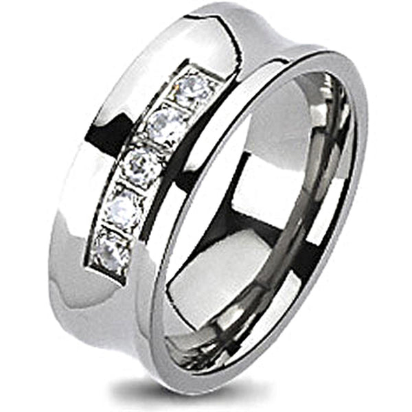 Spikes Solid Titanium Cubic Zirconia Concave Band Ring