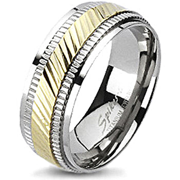 Spikes Solid Titanium Two-Tone Gold IP Diagonal Cut Center Band Ring