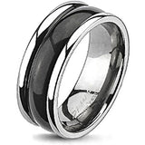 Spikes Solid Titanium Two-Tone Black Dome Band Ring