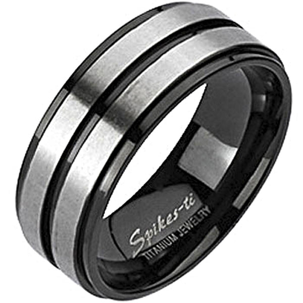 Spikes Mens Solid Titanium Double Stripe Band Ring