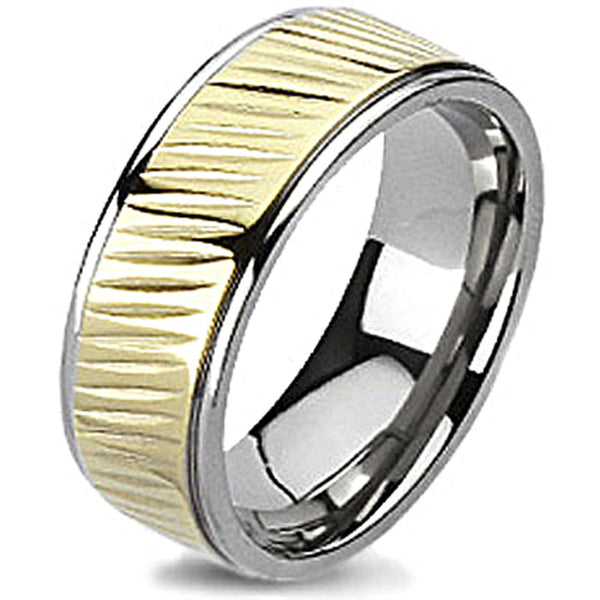 Spikes Solid Titanium Mill Grooved Gold IP Band Ring