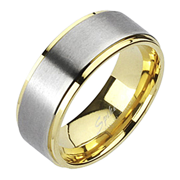 Spikes Mens Solid Titanium Two-Tone Gold IP Band Ring
