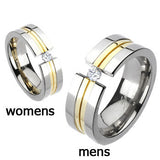Spikes Solid Titanium Double Grooved Gold IP Band Ring with Cubic Zirconia