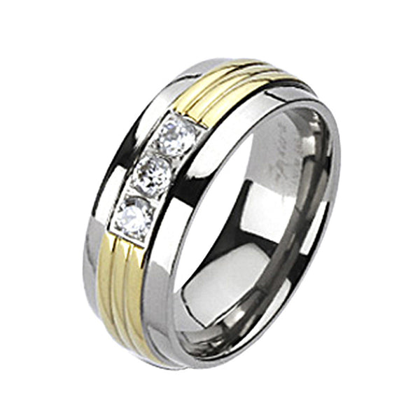 Spikes Solid Titanium Triple Grooved Gold IP Cubic Zirconia Band Ring