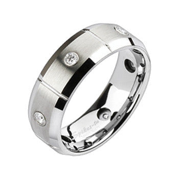 Spikes Tungsten Carbide Brushed Center Beveled CZ Ring