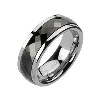 Spikes Mens  Tungsten Carbide Black IP Spinner Ring