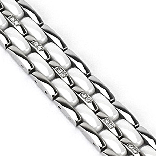 Spikes Womens 316L Stainless Steel Double Link White CZ Ceramic Bracelet