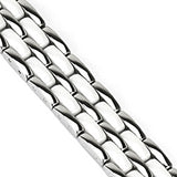 Spikes Womens 316L Stainless Steel Double Link White Ceramic Bracelet
