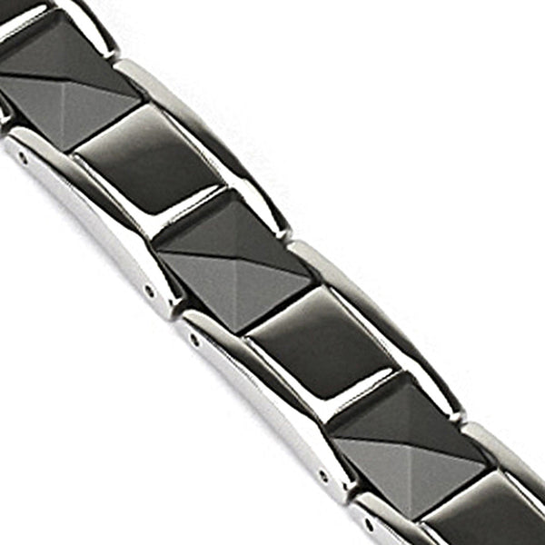 Spikes 316L Stainless Steel Black Pyramid Cut Ceramic Links Bracelet