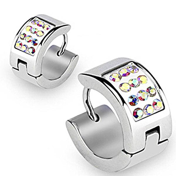 Spikes 316L Surgical Stainless Steel Hoop Earring Aurora CZs