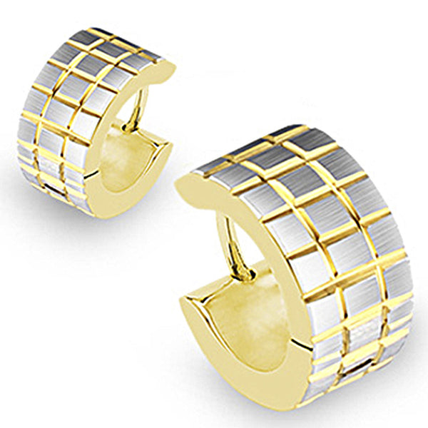 316L Surgical Stainless Steel Gold Plated Hoop Brushed Steel Square Earrings