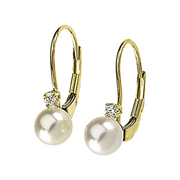 14K Yellow Gold Diamond Akoya Pearl Leverback Earrings
