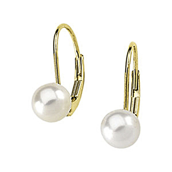 14K Yellow Gold Akoya Pearl Leverback Earrings