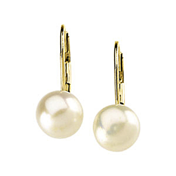 14K Yellow Gold Freshwater 6mm Pearl Leverback Earrings