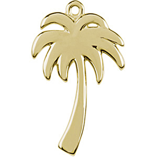 14K Yellow Gold Tiny Palm Tree Charm