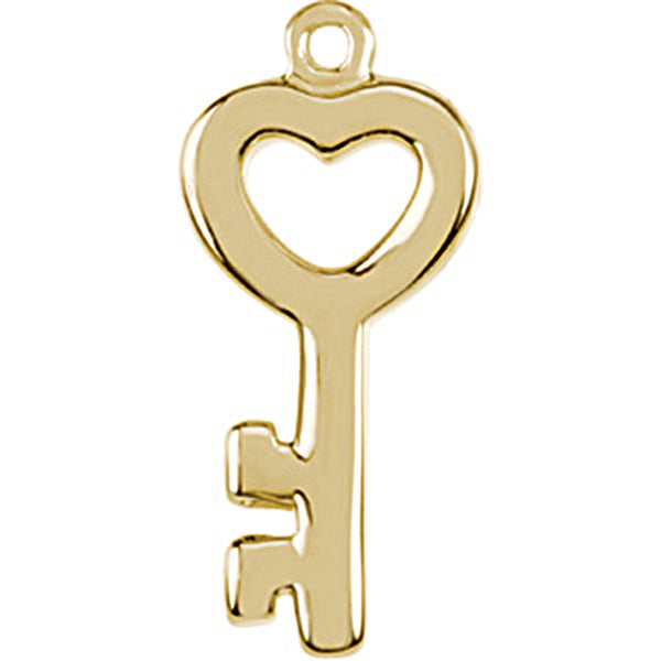 14K Yellow Gold Tiny Heart Key Charm