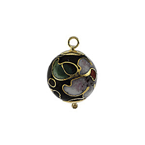 14K Yellow Gold Black Cloissonne Ball Charm