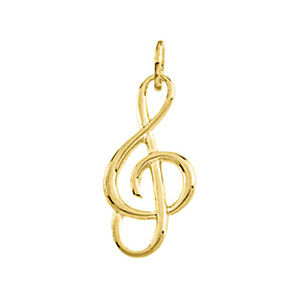 14K Yellow Gold Treble Clef Musical Note Charm