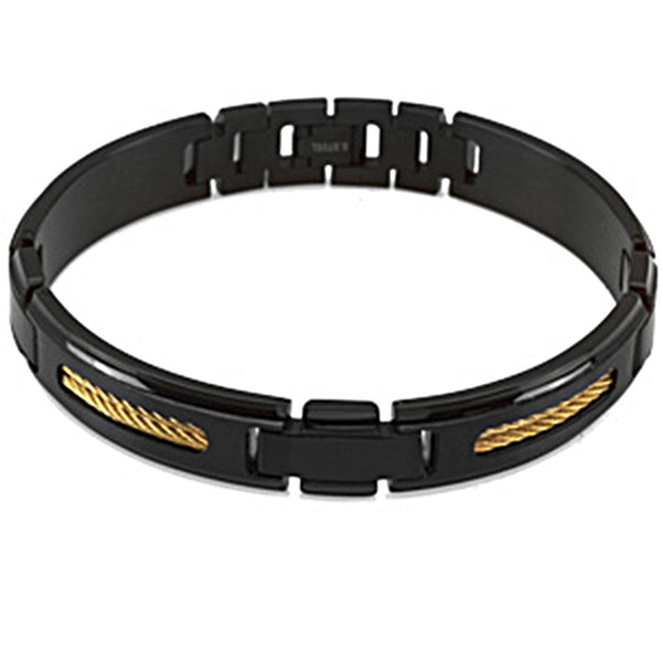 Black Yellow Ion Stainless Steel Men's Bracelet