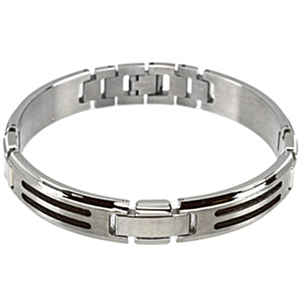 Black Ion Cable Stainless Steel Men's Bracelet