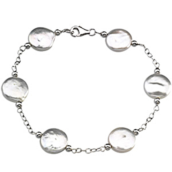 Sterling Silver Freshwater Cultured White Coin Pearl Station Bracelet