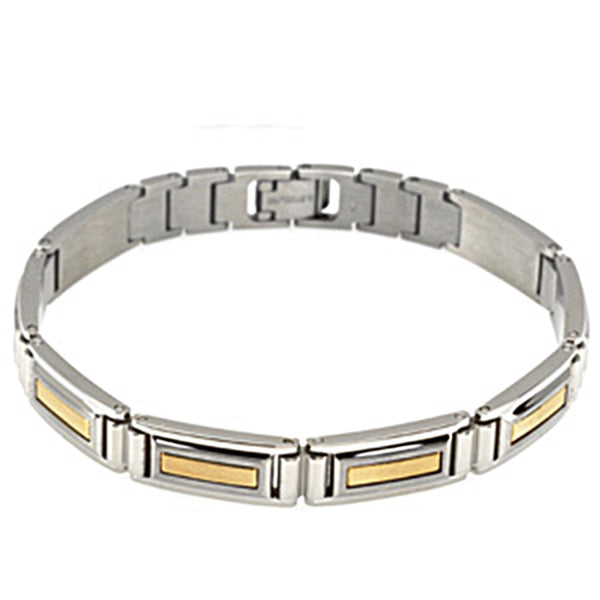 14K Two Tone Gold Stainless Steel Men's Bracelet
