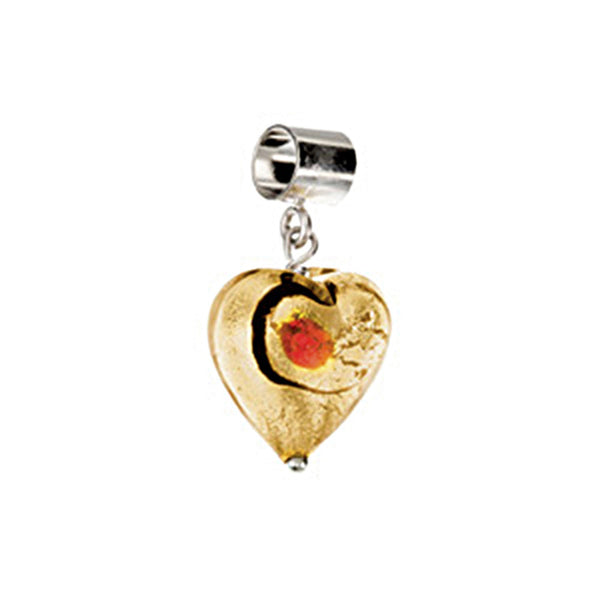 Kera Gold Ruby Glass Heart Dangle Bead