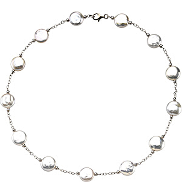 Sterling Silver Freshwater Cultured White Coin Pearl Station Necklace