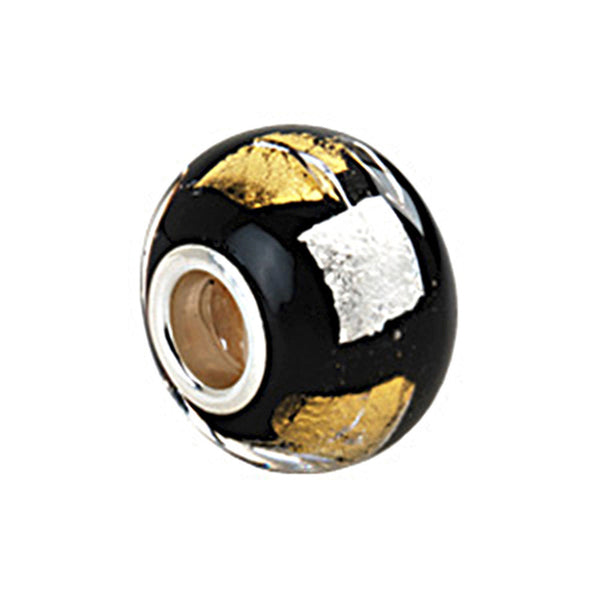 Kera Silver Gold Black Murano Glass Bead
