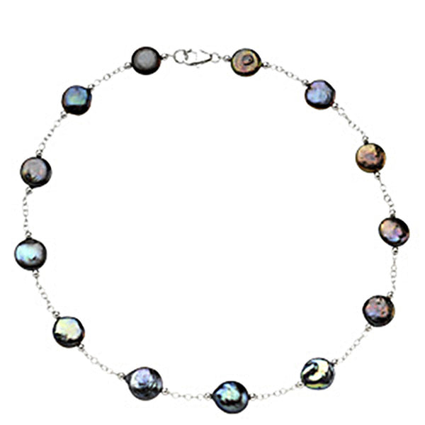 Sterling Silver Freshwater Cultured Black Coin Pearl Station Necklace